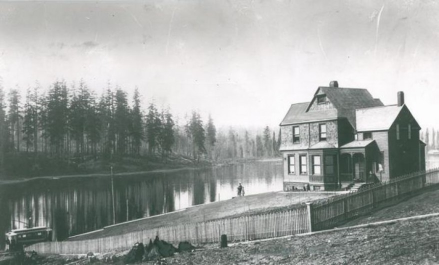 """Looking toward Greenlake in 1890"" Judge McDonald and his daughter are pictured. Seattle P-I archives"