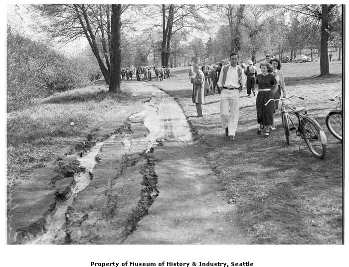 Crack_in_pathway_at_Green_Lake_from_1949_earthquake_April_13_1949 copy