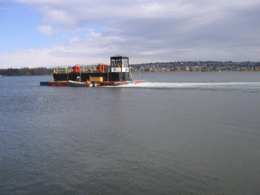 Barge used in 2004 for alum treatment is similar to the barge that will be used this April to apply the alum.