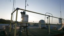 Weather observing equipment on the roof of the NOAA building.